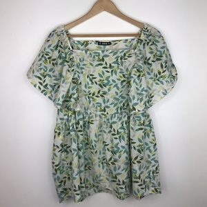 Shein floral and leaf top